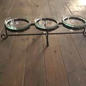 3 bowl entertainer in glass and rod iron